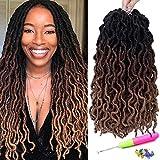 18 Inch Goddess Faux locs Crochet Hair 6 Packs/Lot Soft Gypsy Locs Wavy Crochet Braids Dreadlocks 3 Tone Curly Wavy Twist Braiding Hair Extensions 24 Strands/Pack African Roots Braid(#1B/30/27)