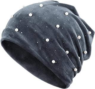 Velvet Knitted Beanie Hat, Women's Beanie Hat Pearl Rhinestones Polyester Slouchy Winter Velvet Knitted Cap, 2019 New Premium Wool Beanie Hat, Ladies Winter Warm Chunky Knitted Cap