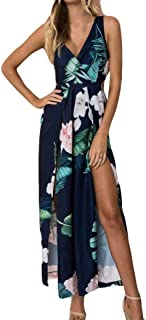 2019 Womens Beach Jumpsuit,Ladies Floral Outfit Sleeveless Shoulder Sexy V-Neck Slit Wide Leg Trousers by-NEWONESUN