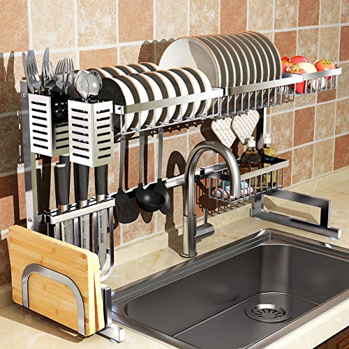 Over Sink(32') Dish Drying Rack, 2 Cutlery Holders Drainer Shelf for Kitchen Supplies Storage Counter Organizer Stainless Steel Display- Kitchen Space Save Must Have (Sink size≤32 1/2 inch, silver)