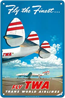 """Pacifica Island Art Fly The Finest - Fly TWA (Trans World Airlines) - Super Lockheed Constellation (""""Connie"""") - Vintage Ai..."""