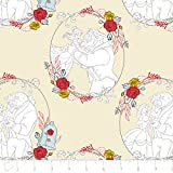 Disney Beauty and The Beast Fabric Belle Love in Tan from 100% Cotton by The Yard