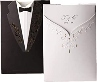 qiao-qiao-store 1Pcs Blank Black & White Cut Acrylic Wedding Invitations Card, Groom and Bridal Tuxedo Invitation Marriage with Envelopes-in Cards & Invitations from Home & Garden