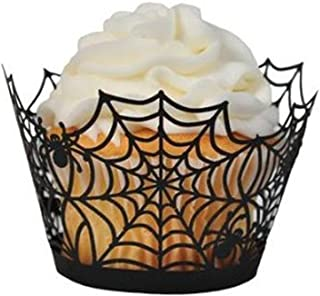 Cupcake Wrappers, Giveme5 Pack of 50 Halloween Party Spiderweb Laser Cut Paper Cupcake Wrappers Wraps Liners Black (50 Pack)