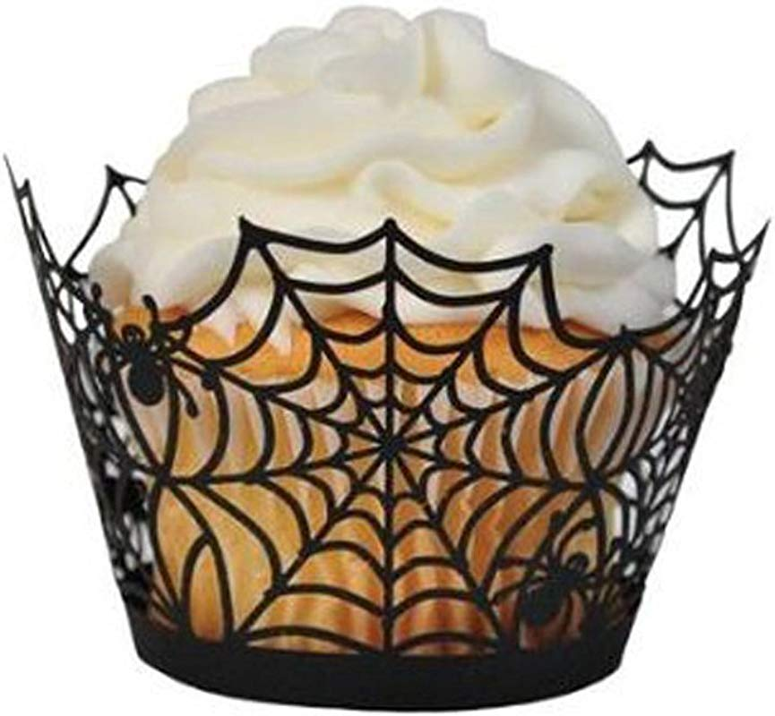 Cupcake Wrappers Giveme5 Pack Of 50 Halloween Party Spiderweb Laser Cut Paper Cupcake Wrappers Wraps Liners Black 50 Pack