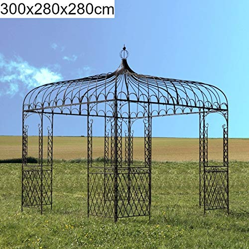 Chemin_de_campagne Große Gloriette Pavillon, Pergola, quadratisch, Eisen, Metall, Braun, 280 x 280 x 300 cm