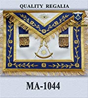 Past Master Apron DARK Blue Gold Eembroidery with Fringe