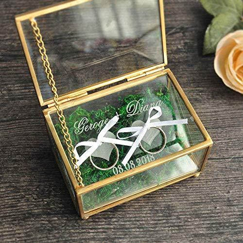 Caja de anillo de boda personalizada, caja de anillo de boda personalizada, caja de joyería de cobre, caja portadora de anillo de ceremonia de boda