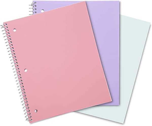 Mintra Office Durable Spiral Notebooks 1 Subject 100 Sheets Poly Pocket Moisture Resistant Cover School Office Business Professional Fashion Pastel Wide Ruled 3pk
