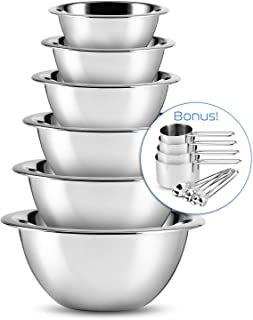 SleekDine 14-Piece Premium Stainless Steel Mixing Bowls, Measuring Cups and Spoons Set – Nesting Mixing Bowls for Baking, Cooking & Meal Prep