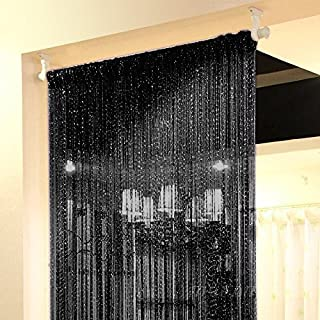 Topixdeals Rare Flat Silver Ribbon Door String Curtain Thread Fringe Window Panel Room Divider Cute Strip Tassel Party Events (2 Pack, Black)