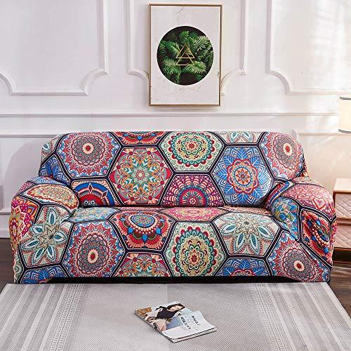 Funda de sofá con Estampado de Colores geométricos Fundas elásticas Fundas de sofá antisuciedad Funda de sofá Funiture Toalla All Wrap A12 4 plazas