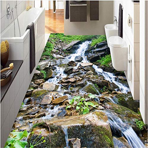 Aangepaste 3D Outdoor Mountain Streams Kiezel Landschap Tegels Driedimensionale Schilderij Badkamer Keuken Vloer Schilderij 200cm(L) x140cm(W)
