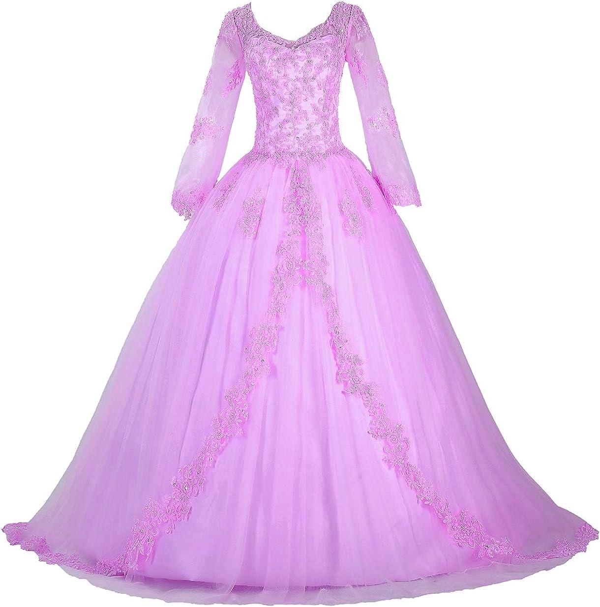 Eldecey Women's Women's V-Neck Lace Applique Sweet 16 Ball Gown Prom Quinceanera Dress