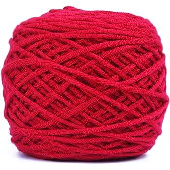 OUNONA Hilo de lana de punto de algodón liso Crochet 200g para tejer a ganchillo y punto (rojo): Amazon.es: Hogar