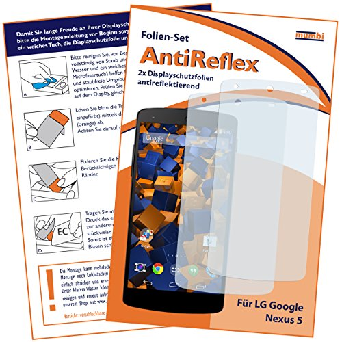 mumbi Schutzfolie kompatibel mit LG Google Nexus 5 Folie matt, Bildschirmschutzfolie (2X)