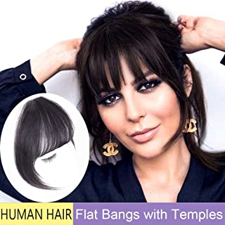 GongXiu Clip in Bangs Real Human Hair Extensions Natural Black Bangs Hair Clip in Fringe Straight Flat Bangs with Temples for Women