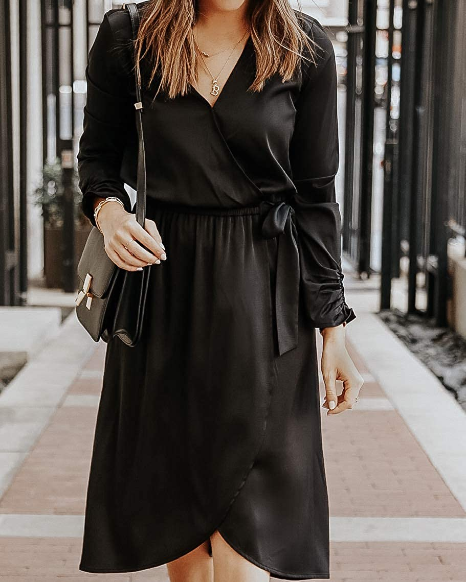 The Drop Women's Black Stretch-Satin by Midi San Antonio Mall Dress @so Max 77% OFF Faux-Wrap