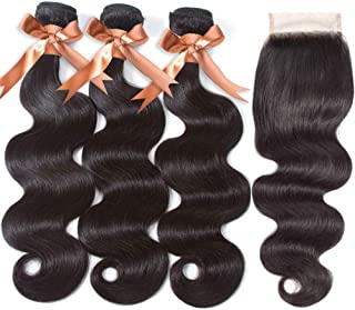 "Brazilian Human hair Body Wave 3 Bundles with Closure(14 16 18+12""Closure) 100% Unprocessed 9A Grade Virgin Human Hair Lace Closure 4×4 Free Part Natural Black Brazilian Hair"