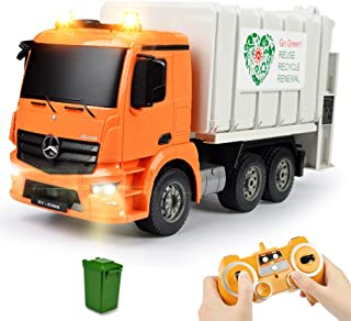 DOUBLE E Remote Control Garbage Truck 8 Channel Mercedes-Benz Licensed Electric Stirring Dump with Trash Bin Sounds Lights 2.4Ghz Sanitation Vehicles Toy
