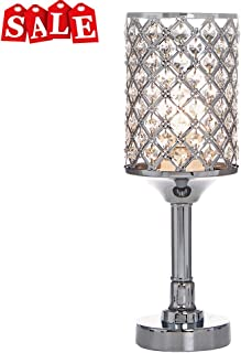 b7ccb0ae71da POPILION All-Match Style Romantic Atmosphere Bedroom Crystal Table Lamp,Inlaid  Rhombus Crystal
