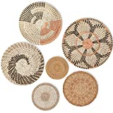 Hanging Woven Wall Basket Decor Set of 6 | 13' to 6', Seagrass Baskets Wall Decor, Rattan Decor for Boho Wall Art - Round Wicker Decorative Tray, Flat Basket for Coffee Table, Fruit - Unique Housewarming Gift