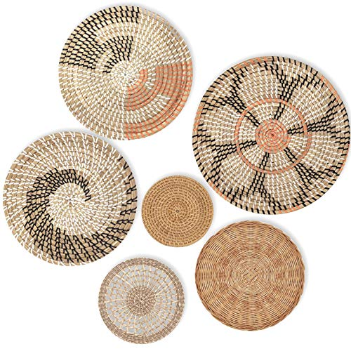 Hanging Woven Wall Basket Decor Set of 6 | 13' to 6', Seagrass Baskets Wall Decor, Rattan Decor for...