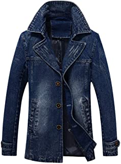 MODOQO Men's Denim Jacket Long Trench Button Slim Coat Winter Warm Outwear
