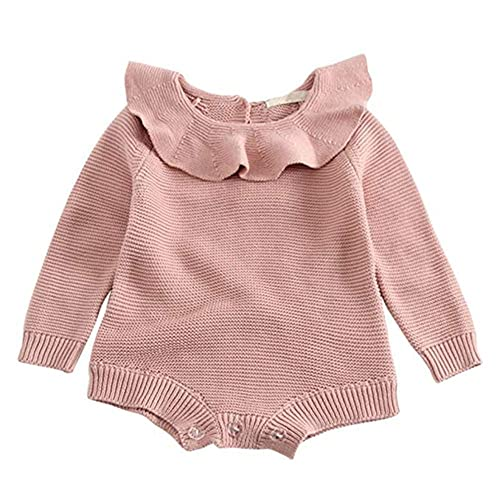 3de316cc2e07 GObabyGO Baby Girls Long Sleeve Doll Collar Knitted Sweater Rompers Jumpsuit
