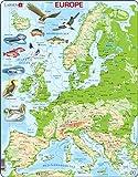 Larsen K70 Mapa físico de Europa, edición en Inglés, Puzzle de Marco con 87 Piezas