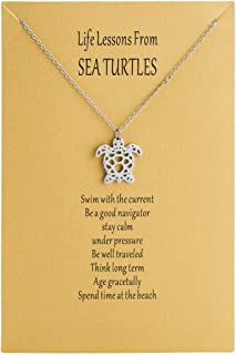 Origami Sea Turtle Pendant Necklace Age Gracetully Statement Necklace Birthday Gift with Gift Card