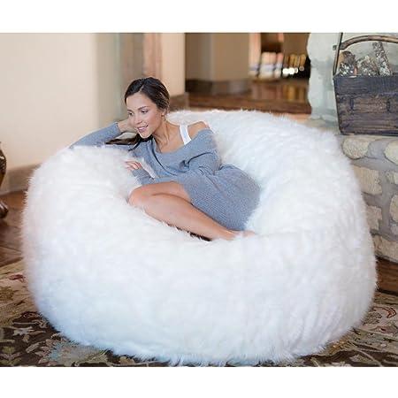 Comfy Sacks 5 ft Memory Foam Bean Bag Chair, White Furry