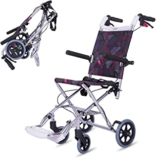 220lbs/100kg Lightweight Travel Wheelchair with Brake Fold Up Pedal, Aluminum Transport Wheel Chair for Children Adults– Portable Medical Aid Wheelchair,Silver
