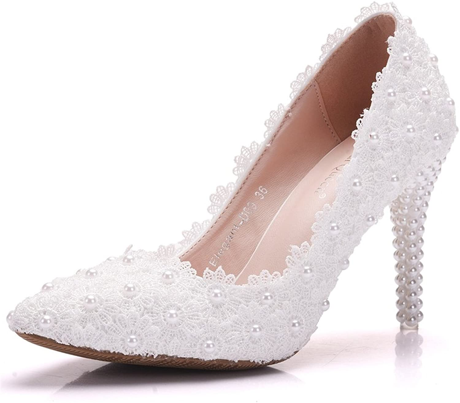 Eleganceoo Women Pumps White Lace Flower Pearl High Heel Wedding Bridal Dress shoes