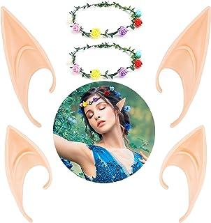LOVEXIU Orejas de elfo, orejas de elfo, cosplay, disfraz de elfo, de látex, 2 unidades y corona de flores, para disfraz de...