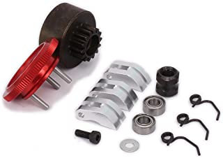 RCAWD Clutch Bell 14T Gear Flywheel Assembly Bearing Clutch Shoes Springs Cone Engine Nut for 1/8 RC Hobby Model Nitro Car HPI HSP Traxxas Axial Himoto 1set