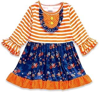 Honeydew cutie Boutique Orange/Dark Blue Floral Ruffle with Front Button Girls Dress