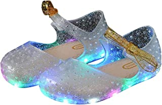 BY0NE Girls LED Light up Shoes Jelly Bowknot Toddler Sandals Kids
