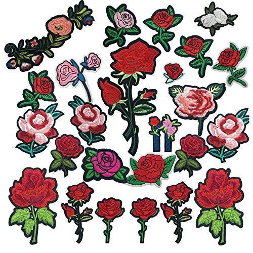 Woohome Broderie Patch Thermocollant, 25 PCS Fleurs de Rose à Repasser Iron-on Patches Appliques pour L'artisanat, La Couture, Les Vêtements