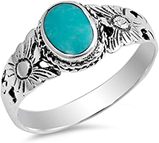 CHOOSE YOUR COLOR Sterling Silver Flower Ring