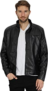 Mens Leather Jacket Stand Collar PU Faux Motocycle Jackets