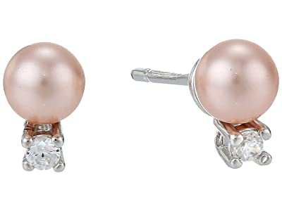 Majorica 4 mm Round Pearl and CZ Mini Short Earrings with Post On Rhodium-Plated (Pink) Earring