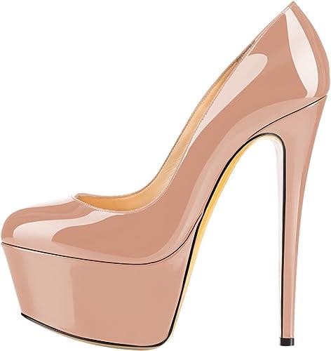 DYF Haut Talon Fine Chaussures étanches à tête Ronde Peu Profonde Bouche,Table,16cm,Couleur Abricot 38