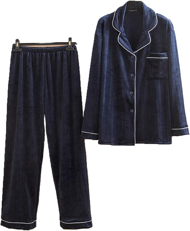 Men's Pajama Set Long Sleeve Sleepwear for Men blue 5XL