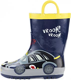 Kids Girl Boy Rain Boots, Waterproof Rubber Printed with Handles