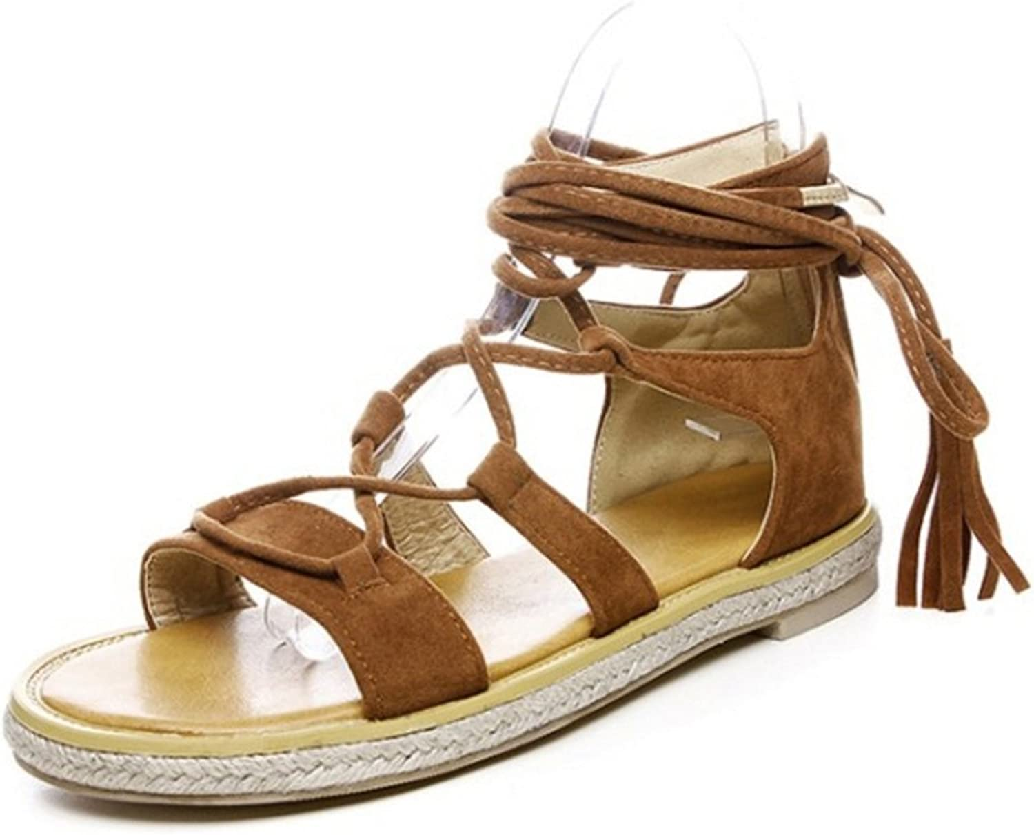 CuteFlats Roman Sandals with Flats and Lace Up for Fashion Women