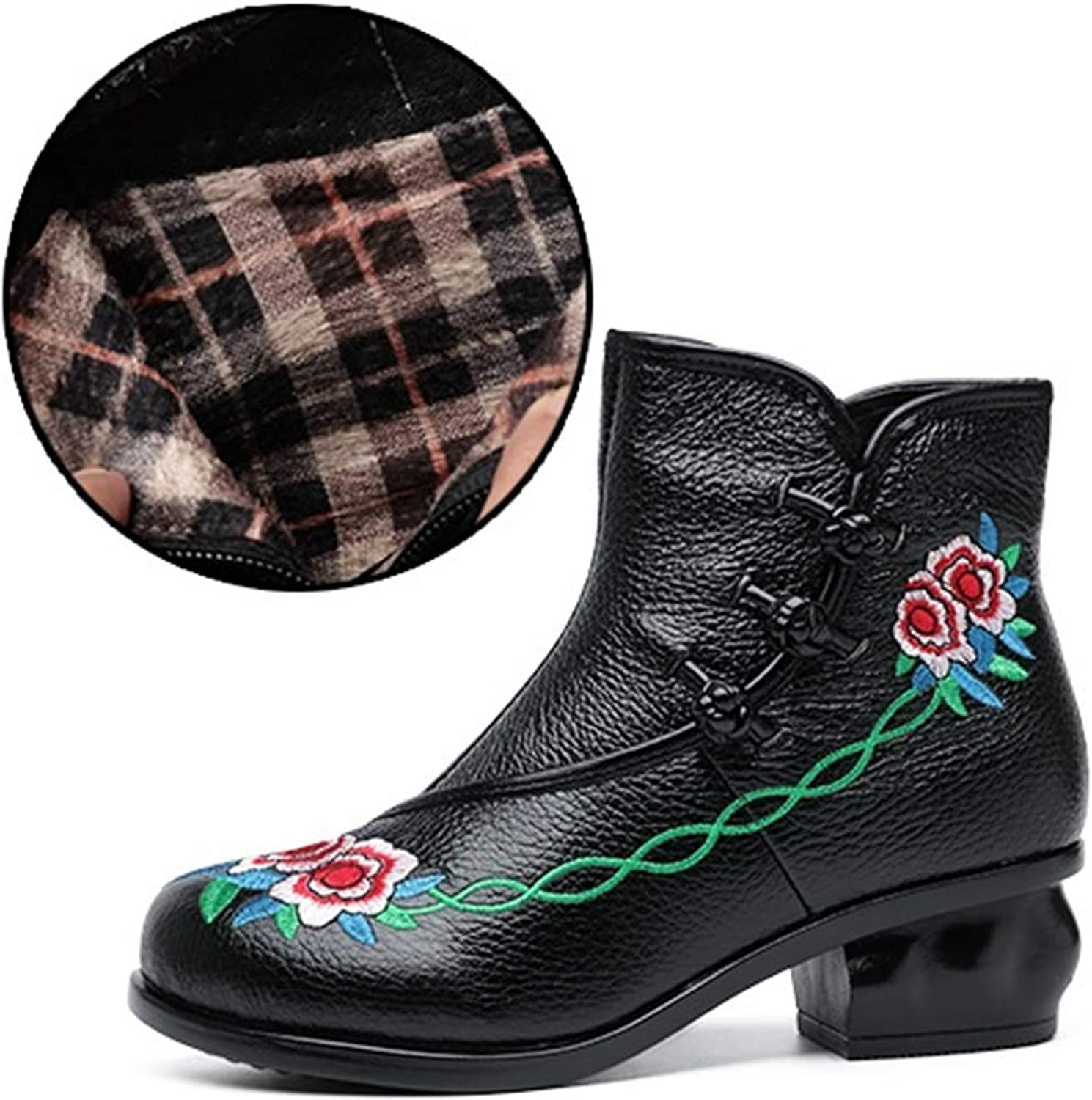 A-LING Women's Genuine Leather Boots Side Zipper Round Head Martin Bootie