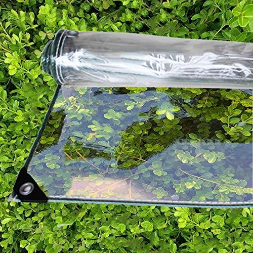 ZHUOZ1T Schwere Beanspruchung Transparente Plane,100% Wasserdicht,0,35 mm,PVC Film,Mit öSen,Für Balkon,AußEnbereich,Innenhof,Pflanzendecke,GrößE Kann Angepasst Werden,410 G/M²(2.2x2m/7.2x6.6ft)