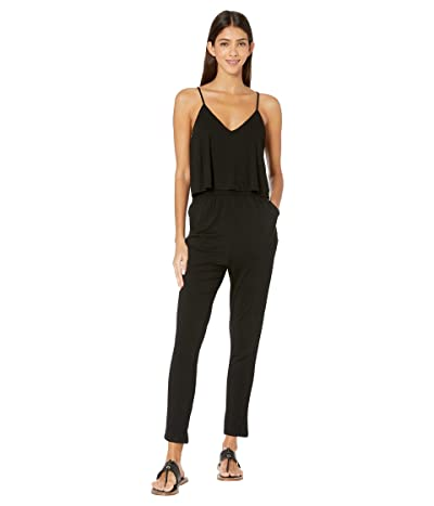 BB Dakota Jump Start My Heart Jersey Jumpsuit with Ruffle Bodice (Black) Women