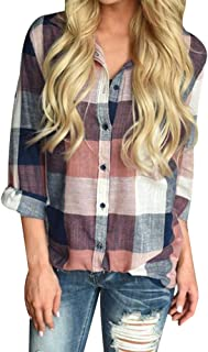 Women's Classic Plaid Shirt Casual Long Sleeve Lapel Collared Button Down Blouse